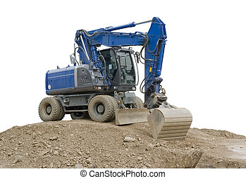 blue digger on earth pile