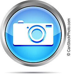 blue digital camera icon button
