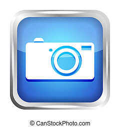 blue digital camera icon button on a white background