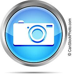 blue digital camera icon button