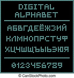 Blue digital cyrillic alphabet