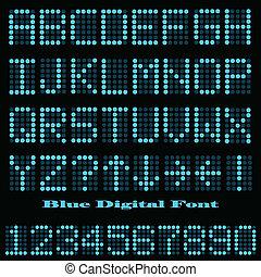 Blue Digital Font - Image of a colorful blue digital font.