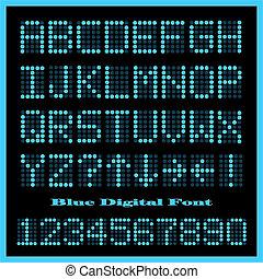 Blue Digital Font - Image of a set of colorful blue...