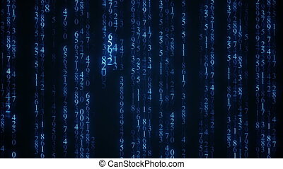 Blue digital matrix rain. Seamless loop abstract animation.
