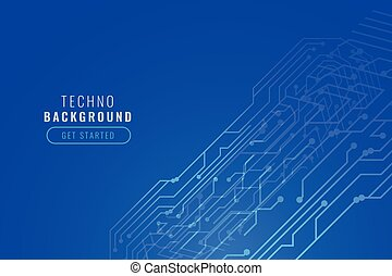 blue digital technology circuit lines background design