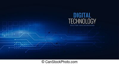 blue digital technology concept with circuit wire mesh diagram