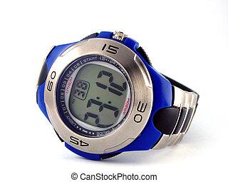 Blue digital wrist watch