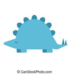 Blue dinosaur flat illustration on white
