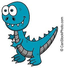 blue dinosaur smiling