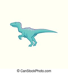 Blue dinosaur with long tail, short fore and long hind...
