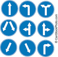 blue direction traffic sign collection vector