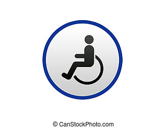 Blue Disabled sign on white background, Illustration