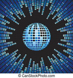 Blue Disco Ball and Equalizer Background