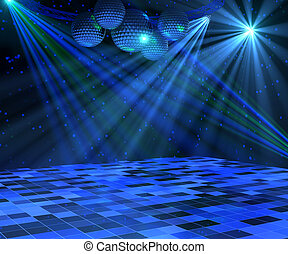 Blue Disco Dance Floor - Blue disco dance floor with mirror...