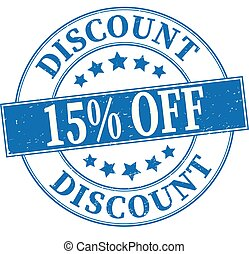 blue discount 15% off grungy round rubber stamp illustration