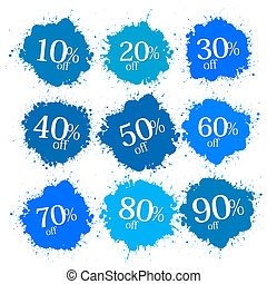 Blue Discount Labels, Stains, Splashes