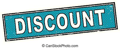 blue discount stamp square grunge sign
