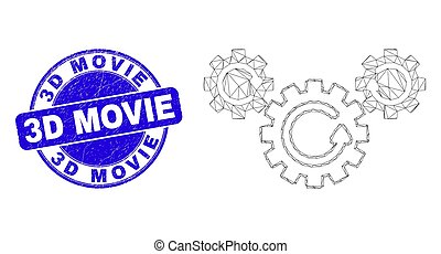 Blue Distress 3D Movie Stamp Seal and Web Mesh Gear Rotation