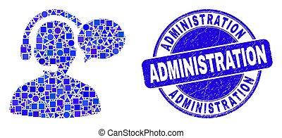 Blue Distress Administration Seal and Operator Message Mosaic