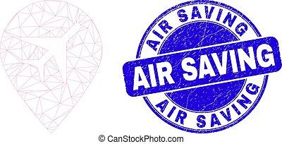 Blue Distress Air Saving Stamp Seal and Web Mesh Airport Map Marker