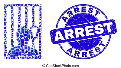 Blue Distress Arrest Stamp and Jailed Person Mosaic