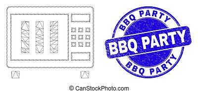 Blue Distress BBQ Party Stamp and Web Carcass Microwave Oven