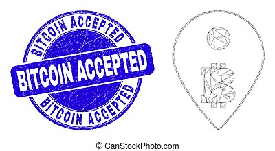 Blue Distress Bitcoin Accepted Stamp Seal and Web Mesh Bitcoin Map Marker