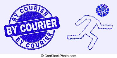 Blue Distress By Courier Stamp Seal and Running Boy Mosaic