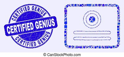 Blue Distress Certified Genius Stamp Seal and Certificate ...