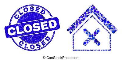 Blue Distress Closed Seal and Closed House Mosaic