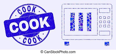 Blue Distress Cook Stamp Seal and Microwave Oven Mosaic