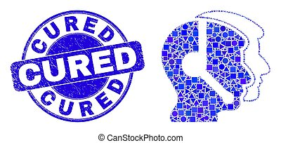 Blue Distress Cured Stamp and Call Service Operators Mosaic