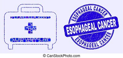 Geometric medical baggage mosaic pictogram and Esophageal Cancer seal stamp. Blue vector round distress seal stamp with Esophageal Cancer title. Abstract collage of medical baggage combined of round,