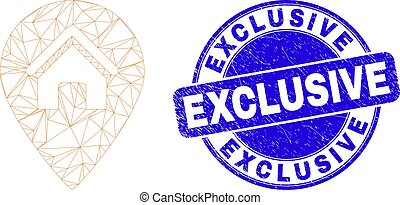 Blue Distress Exclusive Stamp Seal and Web Carcass House Map Marker