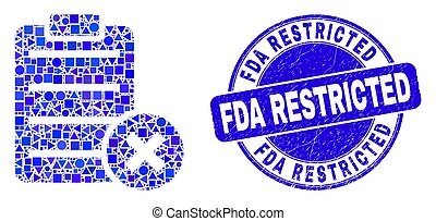 Blue Distress FDA Restricted Stamp and Delete Report Page Mosaic