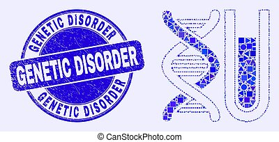 Blue Distress Genetic Disorder Seal and DNA Testtube Mosaic...