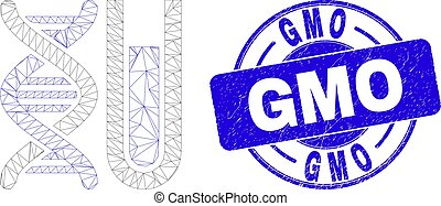Blue Distress GMO Seal and Web Mesh DNA Testtube - Web mesh ...