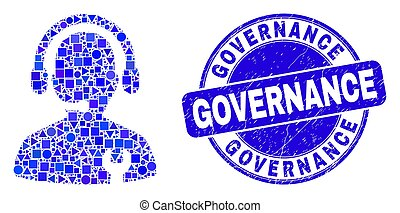 Blue Distress Governance Stamp Seal and Repair Service Operator Mosaic