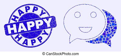 Blue Distress Happy Stamp Seal and Happy Chat Mosaic