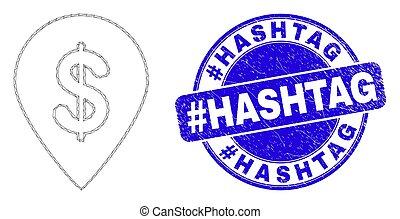 Blue Distress #Hashtag Seal and Web Mesh Dollar Map Marker