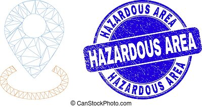 Blue Distress Hazardous Area Stamp and Web Mesh Map Marker Placement