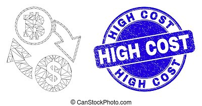 Web mesh dollar bitcoin exchange icon and High Cost watermark. Blue vector rounded scratched stamp with High Cost caption.