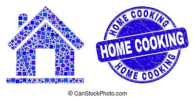 Blue Distress Home Cooking Stamp and Home Mosaic