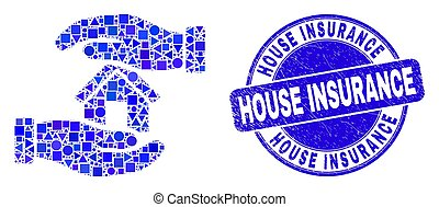 Blue Distress House Insurance Stamp Seal and Hands Care Home Mosaic