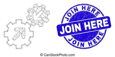 Web carcass integration gears pictogram and Join Here stamp. Blue vector round scratched seal stamp with Join Here phrase.