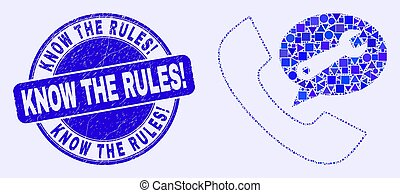 Blue Distress Know the Rules! Stamp Seal and Phone Service Message Mosaic