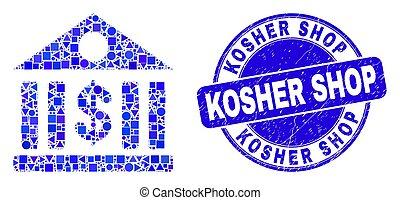 Blue Distress Kosher Shop Stamp and Dollar Bank Mosaic