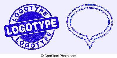 Blue Distress Logotype Seal and Banner Balloon Mosaic