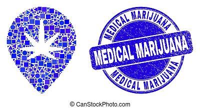 Blue Distress Medical Marijuana Stamp and Cannabis Map Marker Mosaic