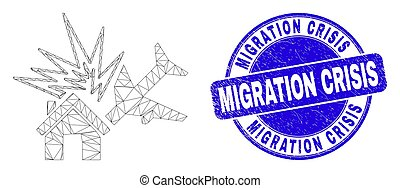 Web mesh airplane disaster icon and Migration Crisis stamp. Blue vector round scratched seal stamp with Migration Crisis caption.